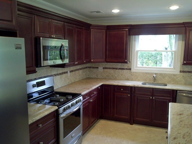 cherry kitchen cabinets cherry glaze door style kitchen cabinet kings traditional kitchen - Cherry Kitchen Cabinets