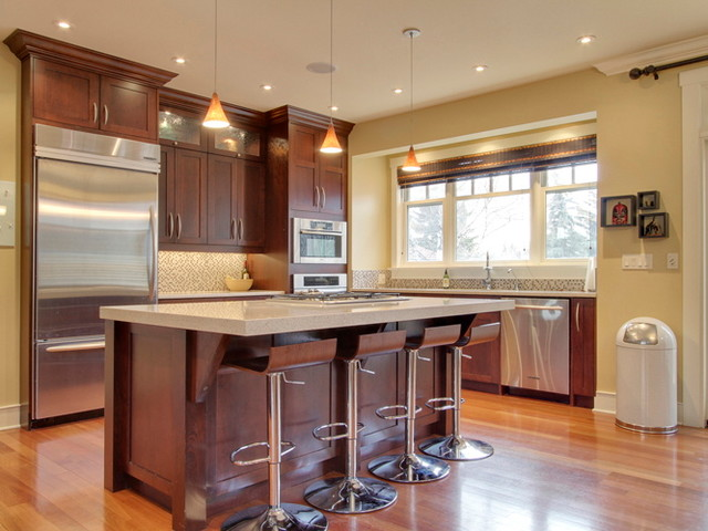 Dark cherry color kitchen cabinets and isles house furniture for Best wall colors for cherry kitchen cabinets