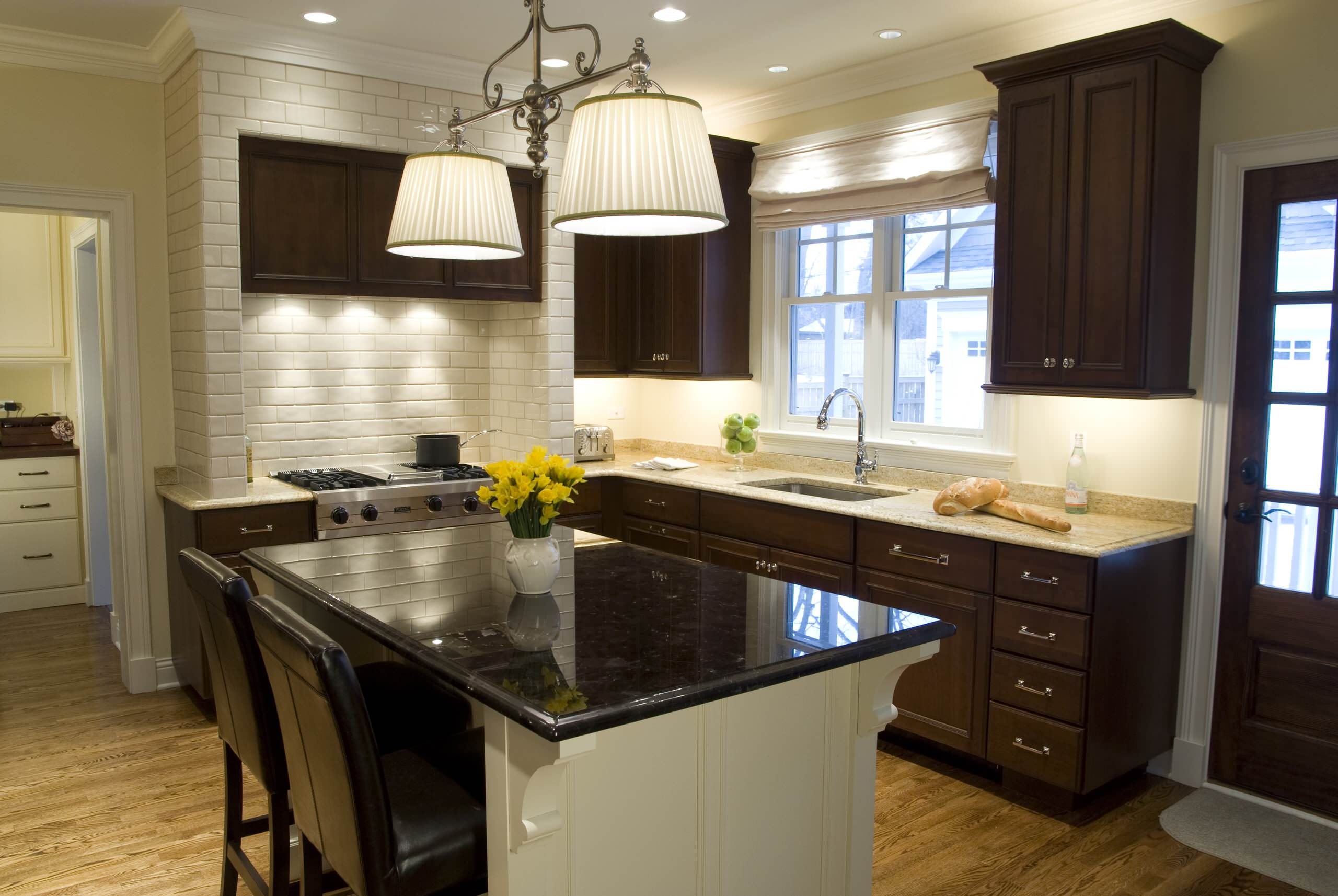 Dark Cabinets White Backsplash Houzz