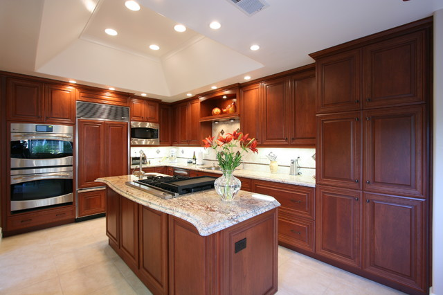 Cherry Kitchen With Large Island In Huntington Beach Ca