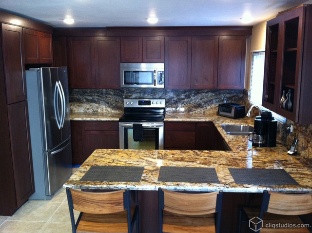 Cliqstudios Kitchen Cabinet Installation Guide Chapter: Cherry Kitchen With Peninsula