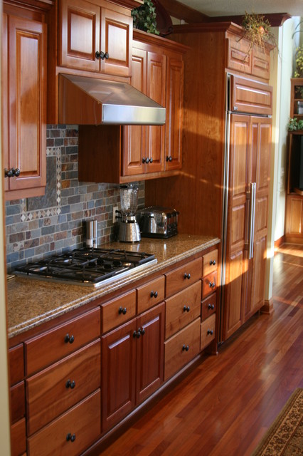 Cherry Kitchen with Slate Backsplash - traditional - kitchen