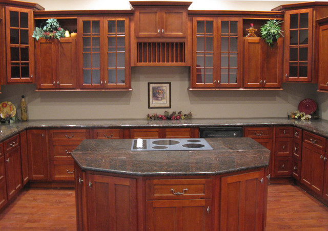 cherry shaker kitchen cabinets home design - traditional - kitchen