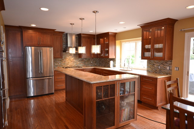 Cherry Shaker Kitchen Kitchen Detroit By Cole Wagner Cabinetry