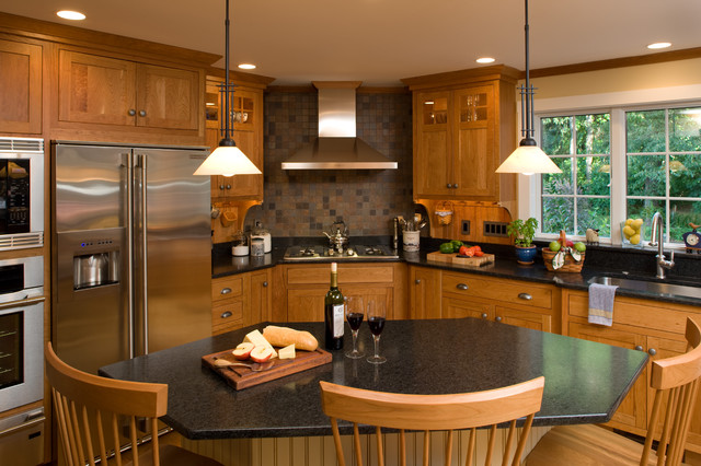 Example Of An Arts And Crafts L Shaped Kitchen Design In Boston With Shaker  Cabinets