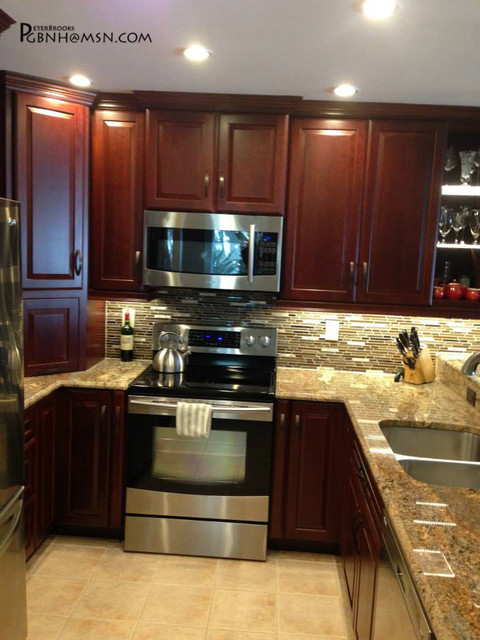Cherry Wood Cabinets Asian Kitchen Miami By Kitchens