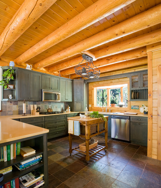 Knotty Pine Kitchen Cabinets For Sale: Chesapeake Bay Waterfront Log Home