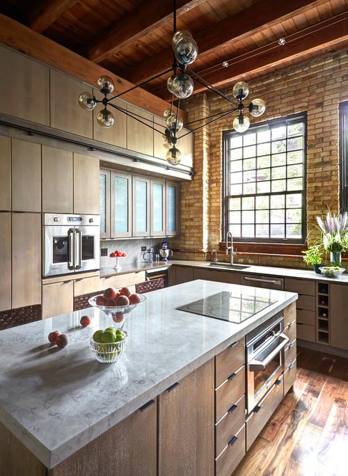 Chicago Industrial loft Kitchen.  Designed by Fred  Alsen of fma Interior Design
