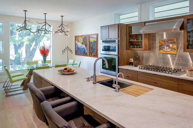 Superb Inspiration For A Contemporary Galley Medium Tone Wood Floor Eat In Kitchen  Remodel In Chicago
