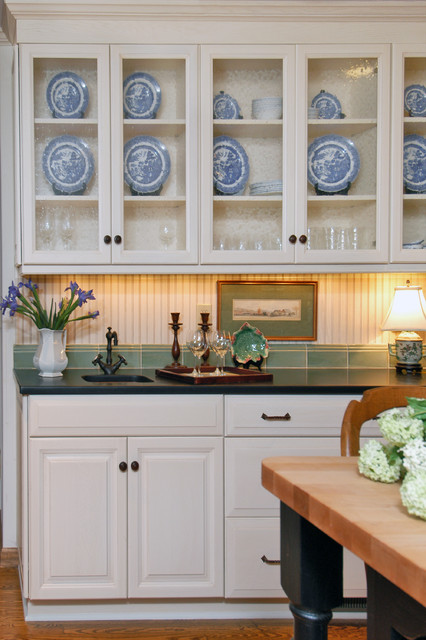 Lovely China Cabinet And Wet Bar Area Traditional Kitchen