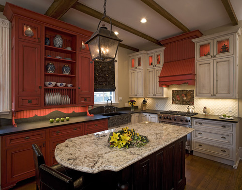 red colored cabinets