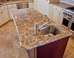 Chocolate Bordeaux Granite traditional kitchen