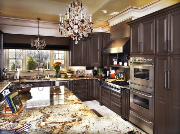 Chocolate Brown Cabinets traditional kitchen