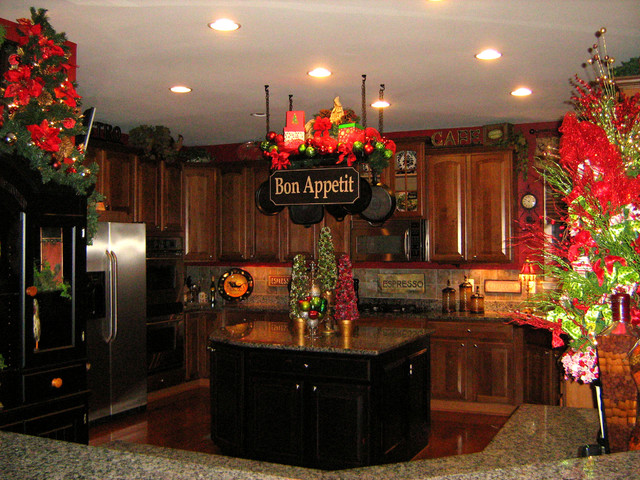 Christmas kitchen pot rack traditional kitchen dc metro for Pot shelf decorating ideas