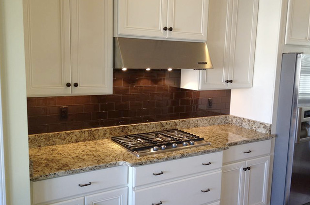 Cinnamon Brown Subway Tile Kitchen Traditional Kitchen