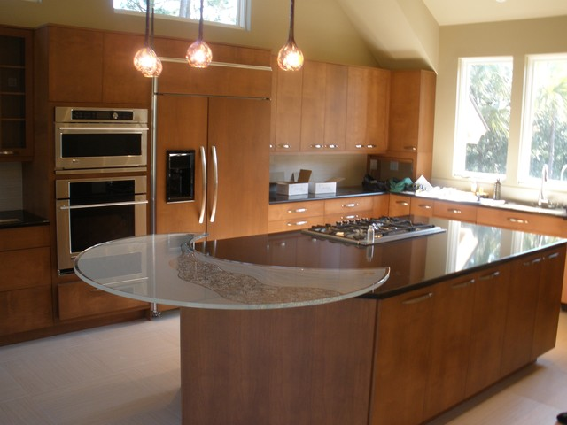 Circular Glass Kitchen Island Top, Carved And Etched Contemporary Kitchen