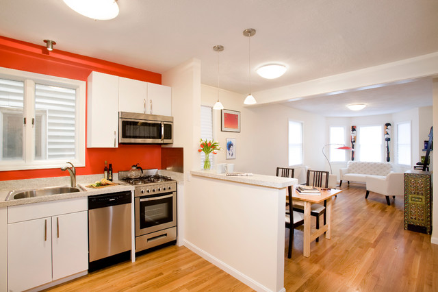 Merveilleux Open Concept Kitchen   Contemporary Open Concept Kitchen Idea In Boston  With A Drop In