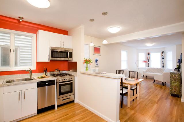 Open Concept Kitchen Contemporary Idea In Boston With A Drop