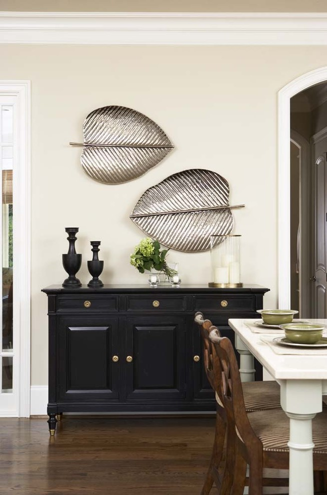 Inspiration for a large contemporary u-shaped medium tone wood floor eat-in kitchen remodel in Other with an undermount sink, shaker cabinets, beige cabinets, marble countertops, white backsplash, ceramic backsplash, stainless steel appliances and an island