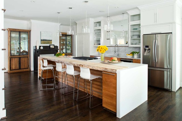 Inspiration For A Mid Sized Contemporary Galley Dark Wood Floor Open  Concept Kitchen Remodel In
