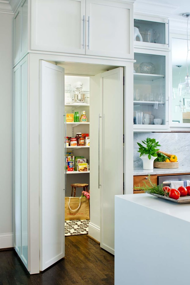 Trendy kitchen pantry photo in Atlanta with recessed-panel cabinets, white cabinets, solid surface countertops, white backsplash and stainless steel appliances