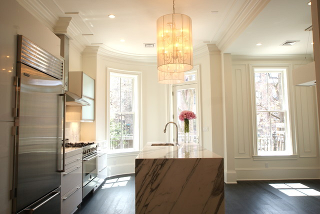 Inspiration For A Victorian Kitchen Remodel In Boston With Flat Panel  Cabinets, White Cabinets