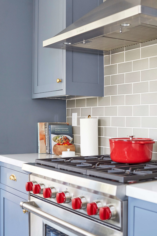 Eclectic cement tile floor kitchen photo in San Francisco with blue cabinets, gray backsplash and ceramic backsplash