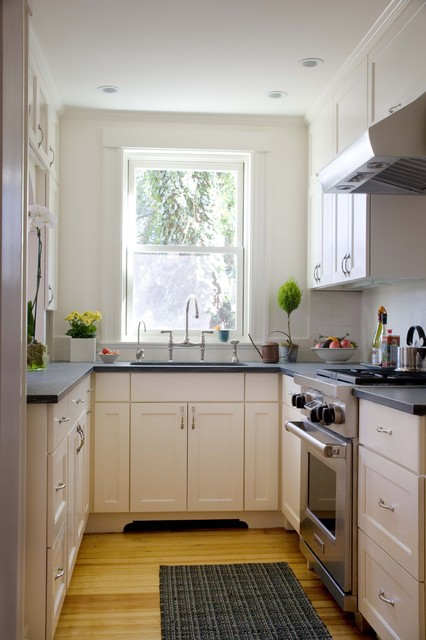 Example Of A Small Clic Enclosed Kitchen Design In Boston With Stainless Steel Liances Recessed