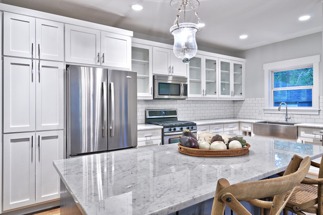 Classic gray and white kitchen craftsman kitchen for Kitchen ideas grey and white