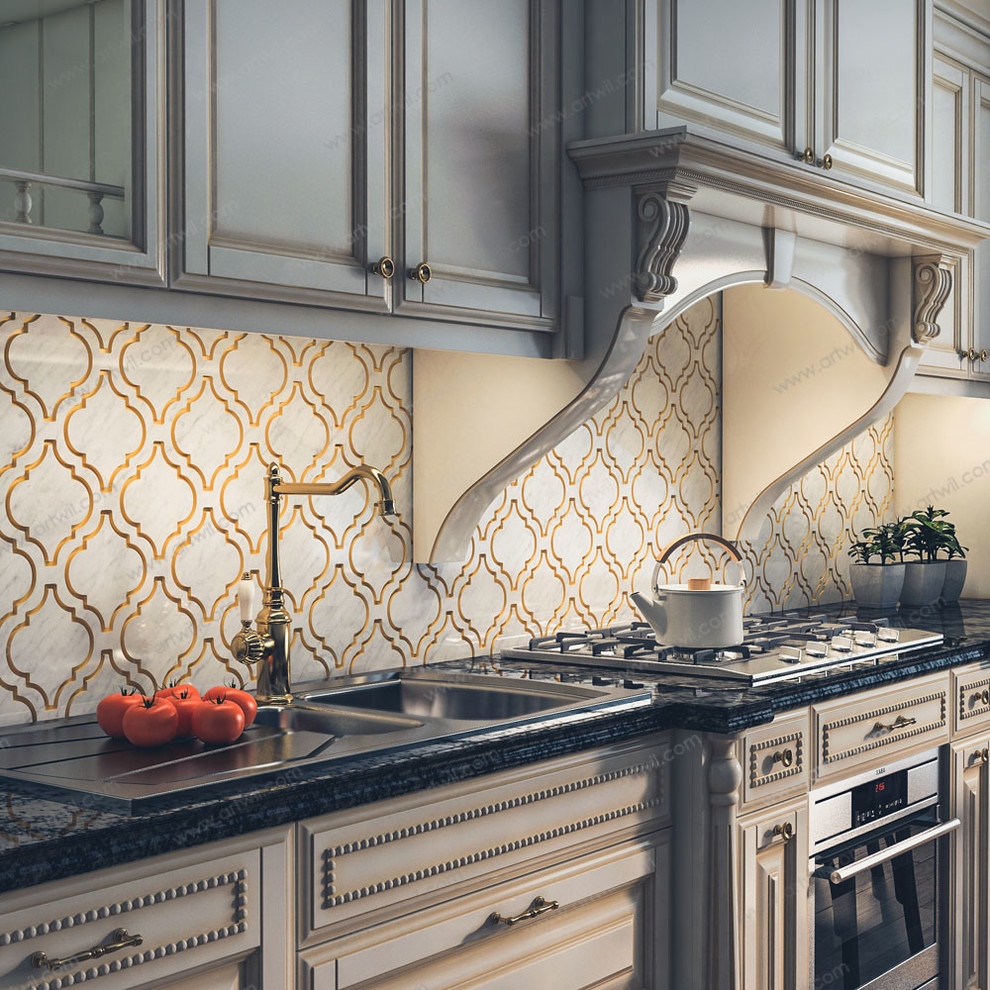 Classic Kitchen Backsplash With White And Gold Natural Stone Noble Gold Traditional Kitchen Other By Artwil Decorative Natural Stone Houzz