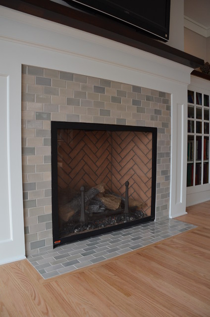 Classic Light Grey Subway Tile Kitchen Fireplace