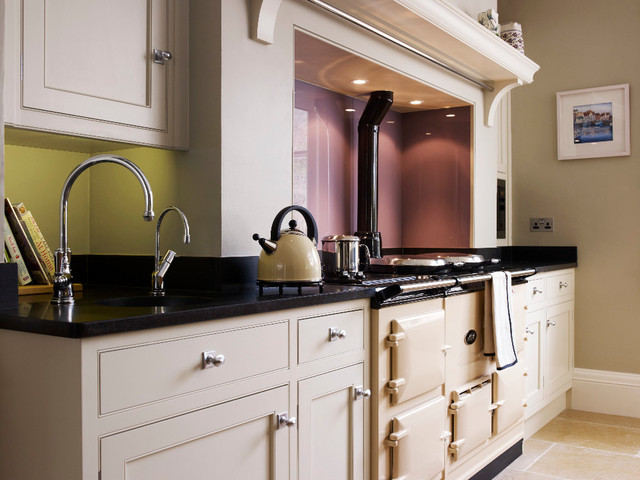 ... bespoke kitchen with curved oak island & pantry contemporary-kitchen