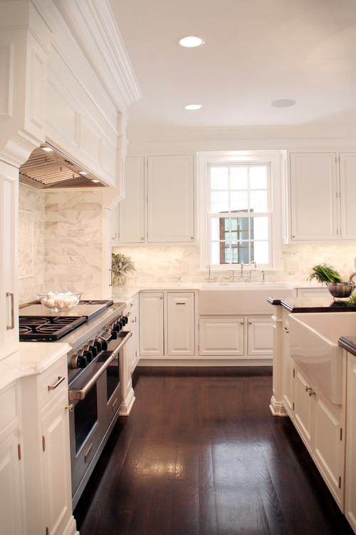 Antique White Cabinets With Dark Hardwood Floors Paint Oak