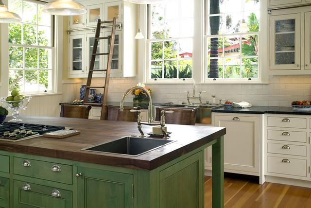 Classic White Landmark Home Traditional Kitchen San