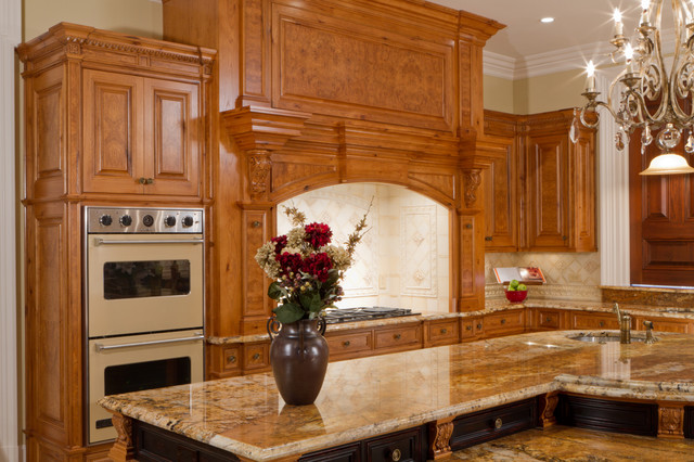 Classical Hickory/Olive Ash Burl Cooking Center traditional-kitchen