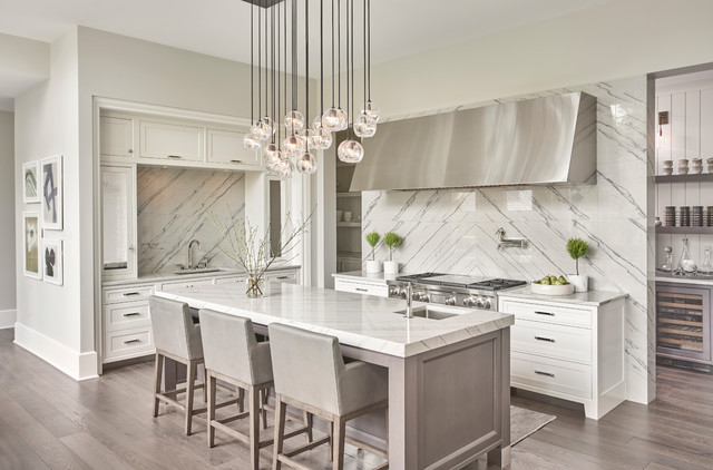 Clean Lined Transitional Kitchen In White Amp Grey