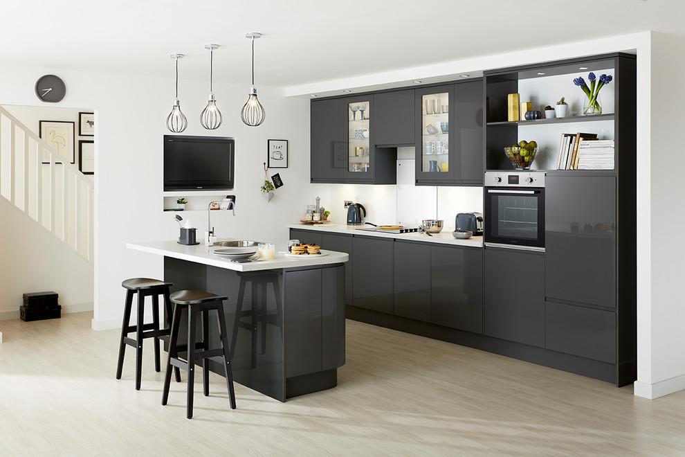Clerkenwell Gloss Graphite Contemporary Kitchen Contemporary Kitchen Other By Howdens Houzz