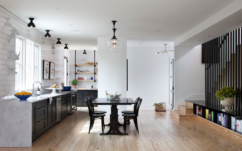Eat-in kitchen - scandinavian eat-in kitchen idea in Austin with no island