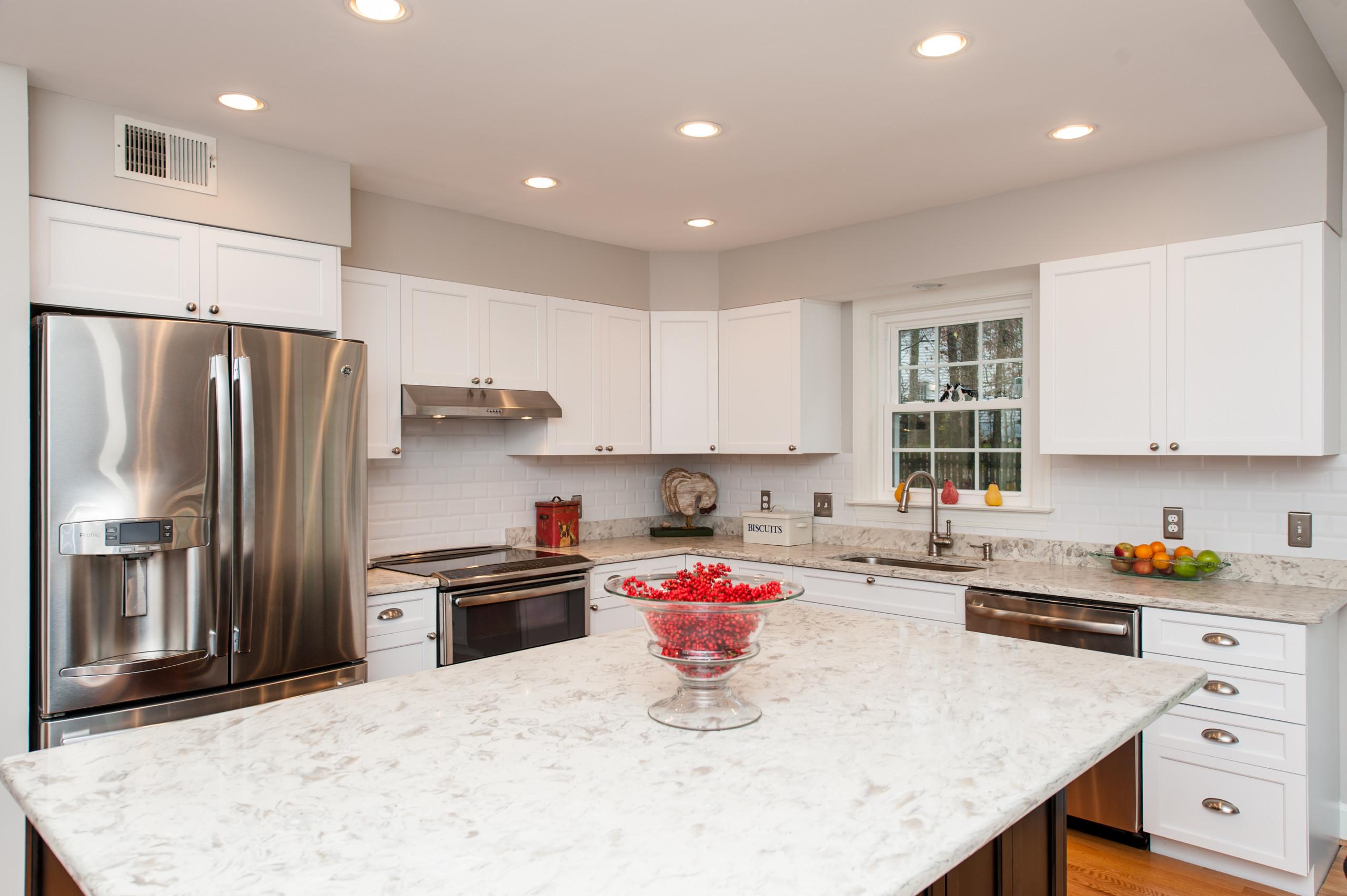 Clifton, VA White Perimeter Kitchen Cabinets