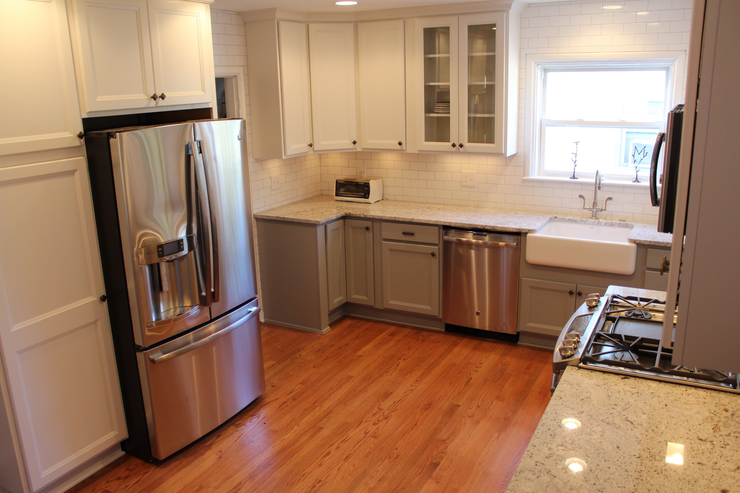 Clintonville-kitchen- grey cabinets with white painted cabinets