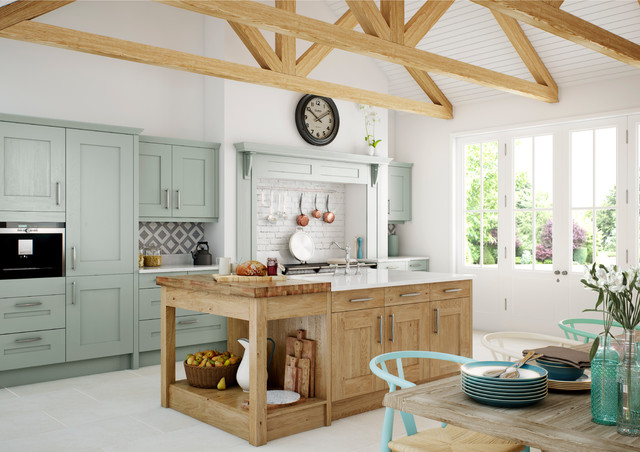 Clonmel Painted Light Blue and Knotty Oak from Kitchen Stori contemporary-kitchen