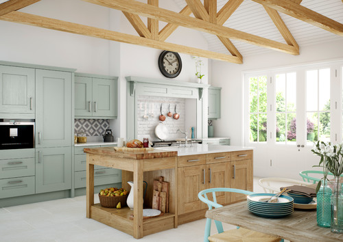 Clonmel Painted Light Blue and Knotty Oak from Kitchen Stori