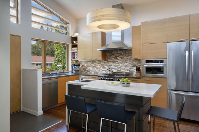 Kitchen Design Ideas With Island wonderful use of two level island in the small kitchen design carnemark Mid Sized 1950s L Shaped Eat In Kitchen Idea In San Francisco With