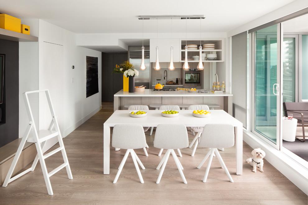バンクーバーの小さいII型北欧スタイルのダイニングキッチンの画像 (シルバーの調理設備、アンダーカウンターシンク、フラットパネル扉のキャビネット、グレーのキャビネット、珪岩カウンター、白いキッチンパネル、石スラブのキッチンパネル、淡色無垢フローリング、ペニンシュラ型)