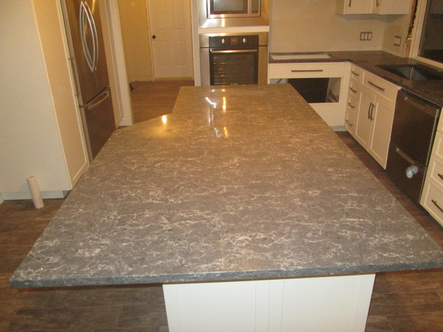 Coastal Gray Quartz kitchen and Island - Modern - Kitchen - Other - by Countertop Creations.