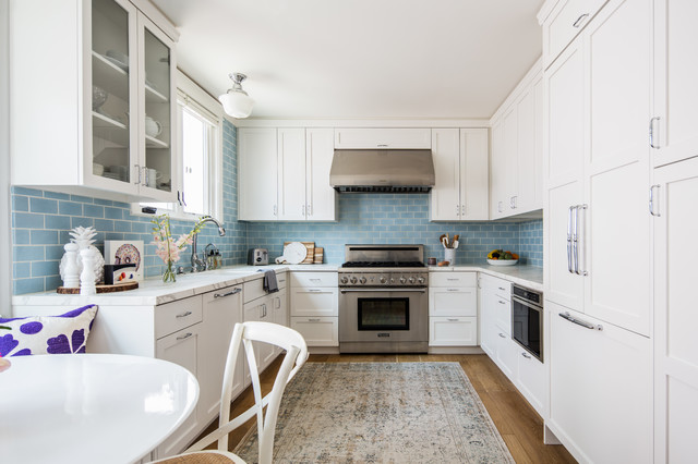 Coastal Kitchen Blue Backsplash Beach Style Kitchen