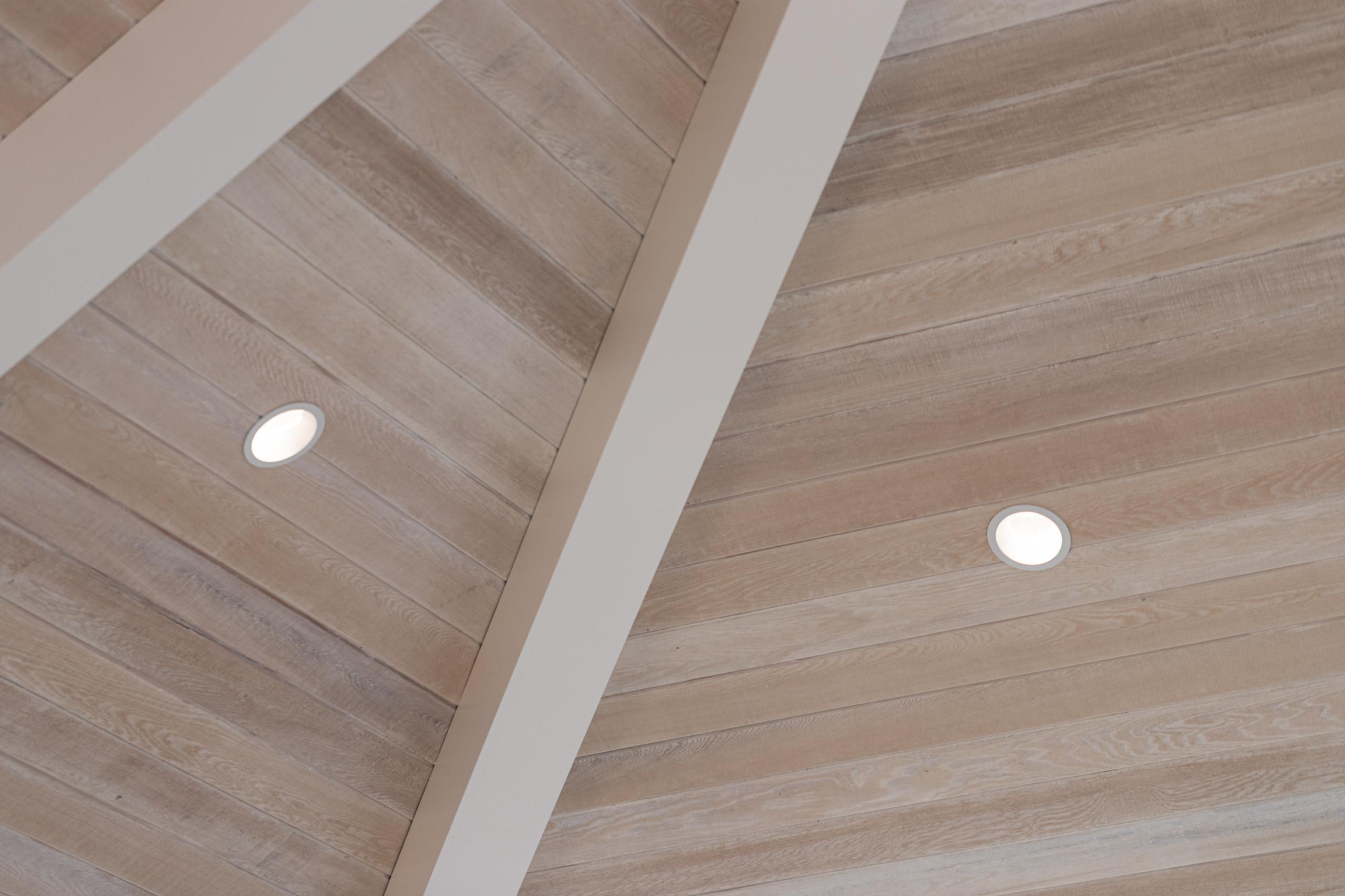 vaulted ceiling, beachy whitewash finish