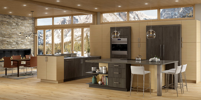 Eat-in kitchen - large contemporary l-shaped light wood floor eat-in kitchen idea in Providence with a drop-in sink, flat-panel cabinets, beige cabinets, solid surface countertops, beige backsplash, ceramic backsplash, stainless steel appliances and an island