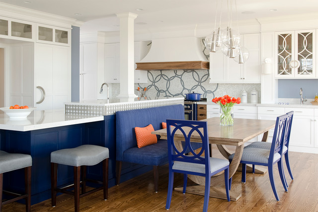 Cobalt Blue And White Reno Contemporary Kitchen