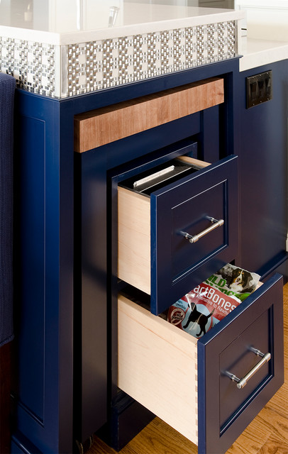 Cobalt Blue and White Reno - Contemporary - Kitchen - portland maine - by Kitchen Cove Cabinetry ...